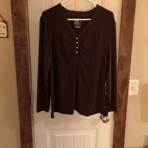 Just My Size 2X (18W/20W) Brown Long Sleeve Top
